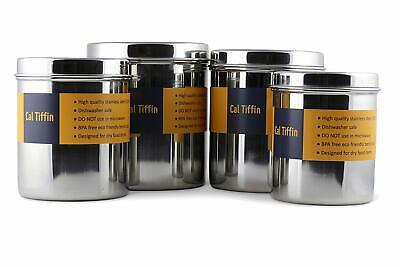Cal Tiffin Stainless Steel CANISTER food storage set of 4 with lids (86, 64, 48,
