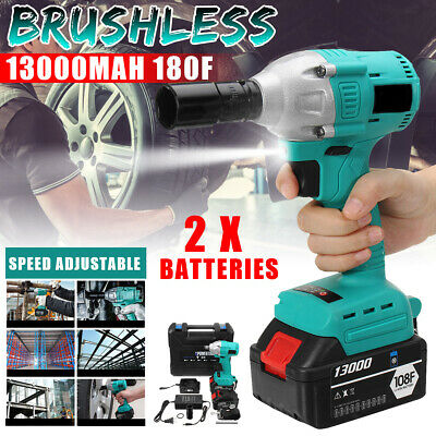 Car Cordless Electric Impact Wrench Brushless Rattle Gun Torque Driver+2 Battery