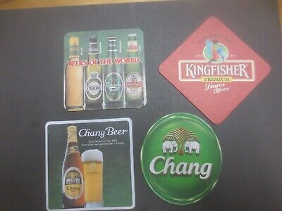 4 different CHANG & KINGFISHER BREWERIES  collectable, .BEER coasters