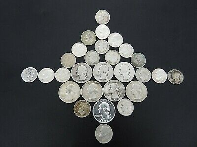 90% Silver Us Coin Collection Lot Quarters Dimes 28 Coins