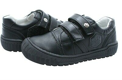 Boys Black Leather Lined Cap Toes Straps School Shoes Kids Sizes Uk 1.5 Bnwt