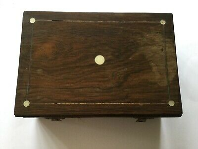 Antique Wooden Box With Mother Of Pearl Inlay