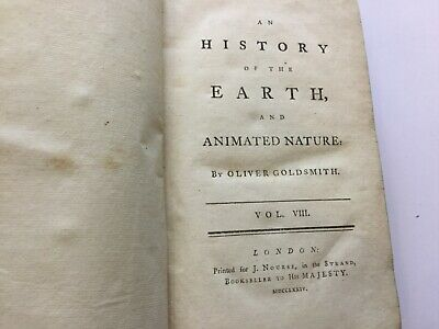 1774 -  HISTORY OF THE EARTH & ANIMATED NATURE BY OLIVER GOLDSMITH Vol. VIII