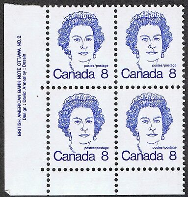 Canada 593 MNH 8¢ Queen Elizabeth II Lower Left Plate Block no 2