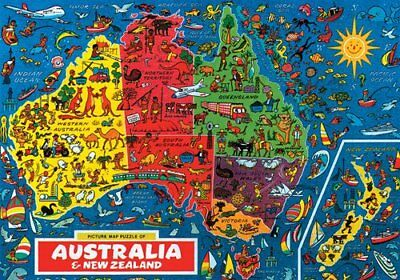 JR PICTURE MAP of AUSTRALIA & NEW ZEALAND 500 Pieces Colourful Jigsaw Puzzle 10+