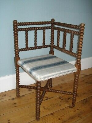 Vintage Corner Chair Bobbin Turned Wood, Arts and Crafts