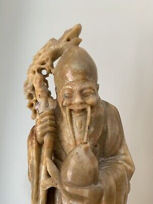 Feng Shui. Chinese Shou Lao God of Longevity Hand Carved Soap Stone statue.