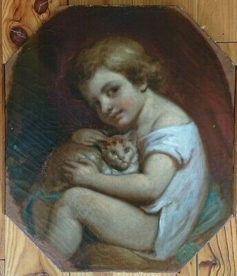 Portrait of a child with kitten cat - Oil Painting early 19th Century