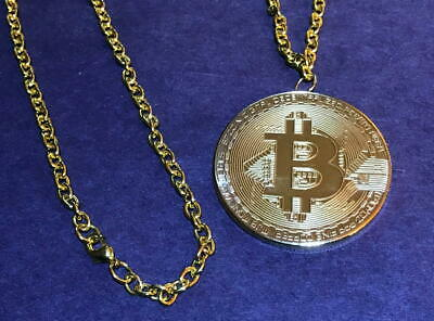 """""""Gold Plated (iron) Bitcoin Commemorative Round Pendant/Necklace"""""""