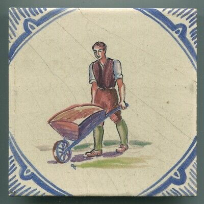 "Hand painted 6""sq tile designed by Sylvia Packard for Packard & Ord, 1948"