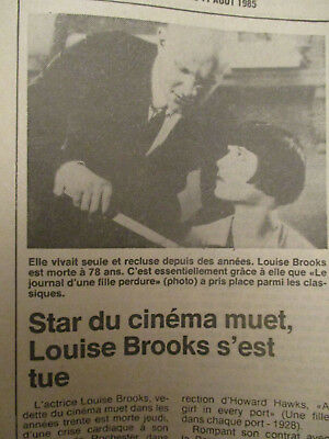Journal Du Deces De : Louise Brooks - 10/08/1985 -
