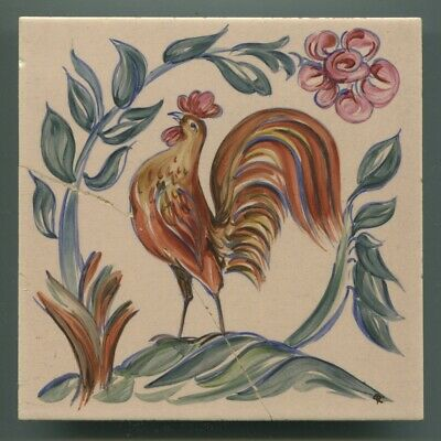 "Hand painted 6""sq tile designed by Sylvia Packard for Packard & Ord, 1956"