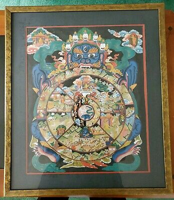 Rokudo Reincarnation Figure Wheel Of Life Tanka Buddhist Painting Mandala