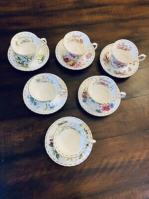 Flower Of The Month Royal Albert 1970 Bone China Cup And Saucer Lot EUC