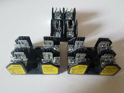 Lot of (3) Bussmann Fuse Blocks, Class H, 2 Fuse Holders, H25030-2PR