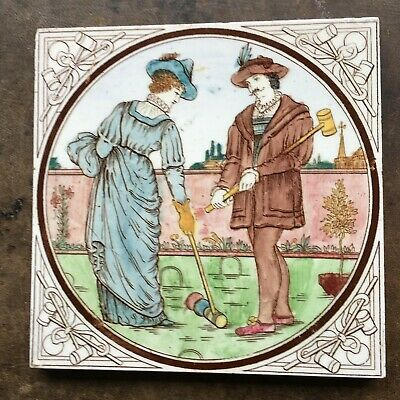 MALKIN EDGE TILE, SPORTS SERIIES, CROQUET, c 1885