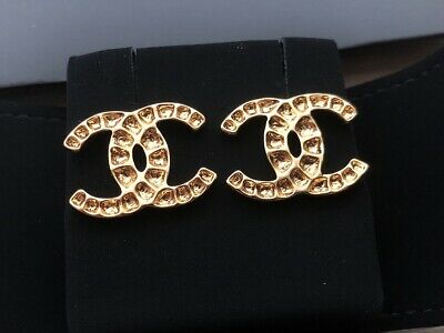 Authentic Chanel CC Logo Crystal Gold Tone Earrings Studs 2019 Large