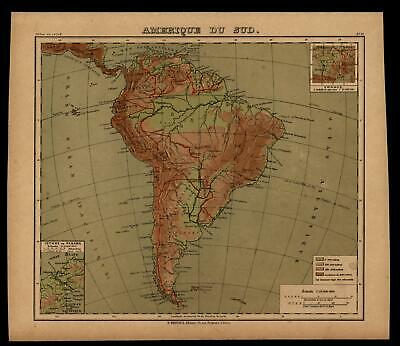 South America c.1880's raised relief map