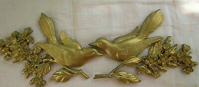 2Pc 1967 Molded Syroco / Dart Gold Birds & Dogwood Flowers Branch Wall Plaques