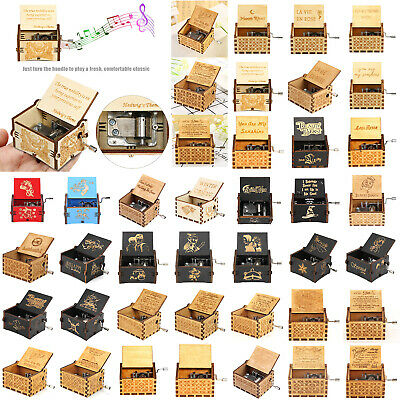 Retro Wooden Music Box Antique Hand Crank Engraved Toys Kids Birthday Xmas Gift