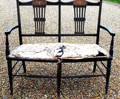 Absolutely Stunning Inlaid Antique Edwardian (?) Settle Settee Possible Delivery