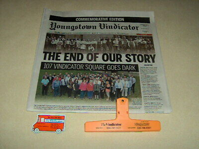 Youngstown Vindicator Final Newspaper Magnetic Clip & Magnetic Truck Advertising