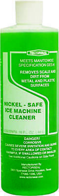 Rectroseal 88312 Nickel-Safe Ice Machine Cleaner, 16 oz, Bottle, Clear Green,