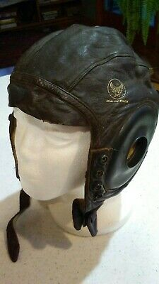 World War II US Army Air Corps Leather Flight Helmet A-11. Spec #3189 Large