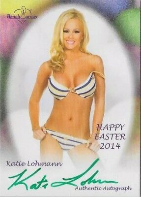 2014 Benchwarmer Happy Easter Katie Lohmann Autograph Signature Green Ink