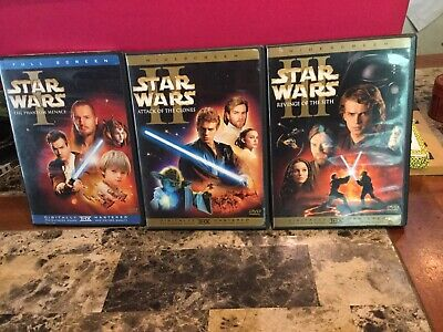 Star Wars DVD Trilogy Episodes I,II,III Phantom Menace, Attack Of The Clones