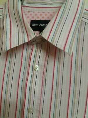 """Mens M&S Autograph L/Sleeve Striped Formal Casual Shirt Large. 48"""" Chest Fits XL"""