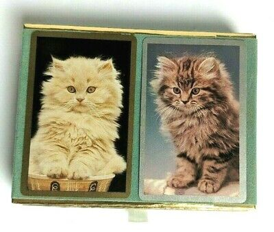 Congress Vintage Double Deck Playing Cards Cats Velvet Box
