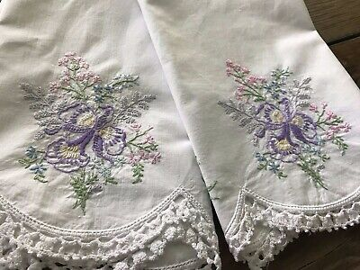 Vintage Embroidered 2 Pillowcases Lavender Orchids Cotton 21X30 Cottage Shabby