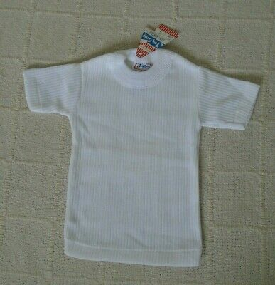Vintage Ribbed Stretch T-shirt - Age 1 year Approx - White - Cotton/Poly - New