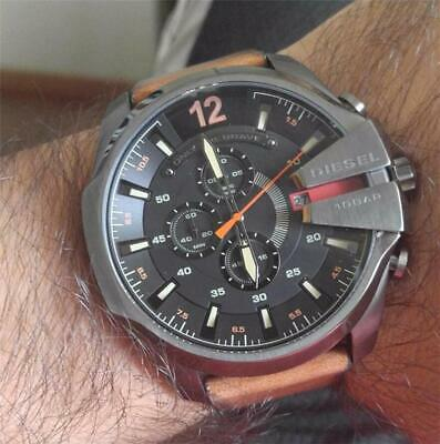 Real DlESEL Mega Chief Chronograph Black Brown Leather Strap Men's Watch DZ4343