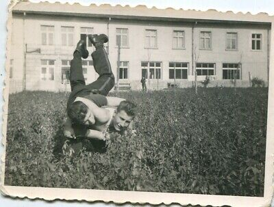 Young men soldiers wrestling gay interest photo vintage 1950s