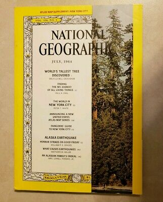 National Geographic Magazine July, 1964 Vol. 126, No. 1 With New York City Map