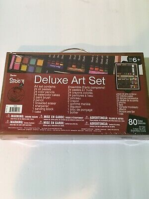 Darice 80 Pcs Deluxe Art Set Supplies for Drawing,Painting Portable Case