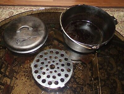Vintage FINDLAY Cast Iron Bean Pot Dutch Oven w/ Lid & Trivet Made in Canada #8