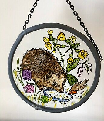 Winged Heart Stained Glass Roundel Vintage Hedgehog Robin Ornament Window