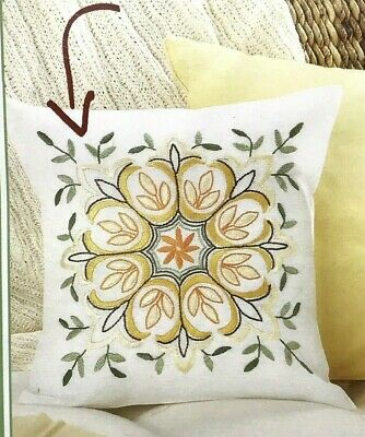 """Pillow Cover Embroidery Kit Nob Hill Linens Chloe 15""""x15""""  NEW Sealed"""