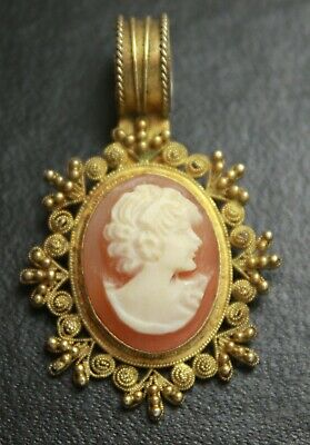 Antique Vintage Vermeil Sterling Silver Genuine Shell Victorian Cameo Pendant
