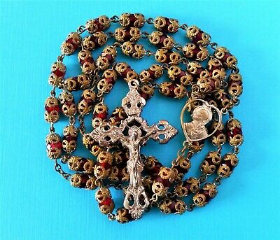 Stunning Antique Vintage DOUBLE Capped RUBY RED Crystal Catholic Rosary Beads