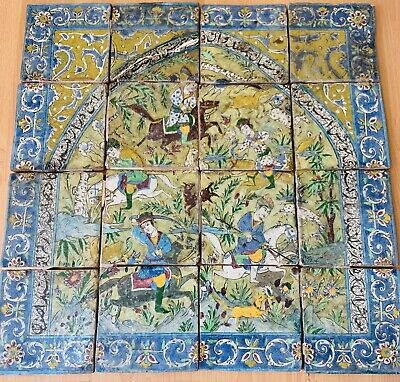 Antique Safavid Safavieh dynasty Persian islamic Glazed Ceramic tiles set of 16