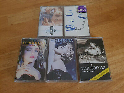 Madonna - 5x UK/Euro cassette album tapes - First, Virgin, Blue, Prayer, Erotica