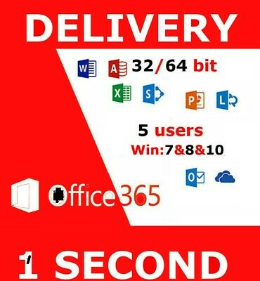 INSTANT Microsoft Office 365 2016 2019 Pro Key PC/Mac 5TB User Lifetime