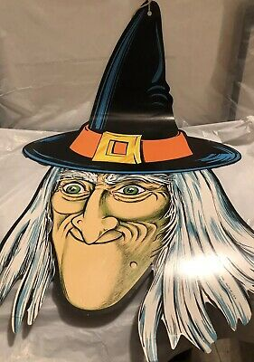 VINTAGE HALLOWEEN WITCH CARDBOARD DECORATIONS—BEISTLE—Made In USA! 1983