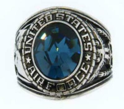 Silver Plated Blue Air Force Military Ring-Szs 7-15