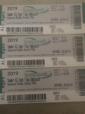 Hershey Park One Day Admission Tickets with preview plan-exp 9/29/19- FREE SHIP-