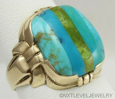 Antique Art Deco Ostby & Barton RARE Turquoise Inlay 10k Solid Gold Men's Ring